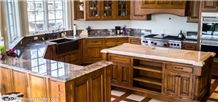 Riviera Beige Marble and Arctic Diamond Perimeter Granite Countertop