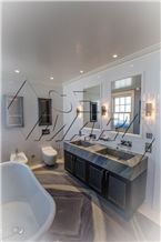 Azul Do Mar Quartzite Bathroom Vanity, Farm Sink