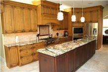 Bordeaux River Gold Granite Full Bulnose Kitchen Countertop