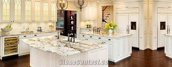 Island Kitchen Countertop in White Galaxy Granite from United States ...