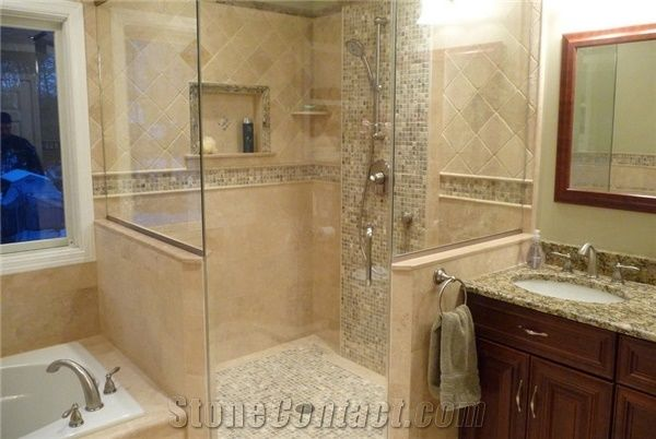 Classic Travertine And Mocha Onyx Travertine Bathroom From