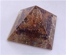 Amethyst-Crystal Orgone Pyramid with Crystal Point Orgonite Crown Chakra Healing Pyramid Healing Crystals with Copper Meditation