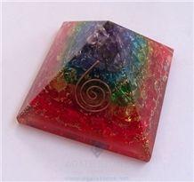 Chakra Layer Onyx Orgone Energy Pyramid, Orgonite Chakra Layer Pyramid,Healing Crystals