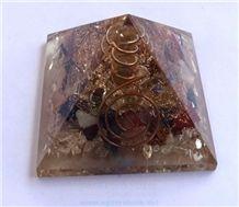 Chakra Stone Orgone Pyramid with Crystal Point Orgonite Chakras Pyramid Healing Crystals with Copper Meditation