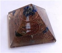 Copper Three Layer Orgone Pyramid with Crystals Orgonite Healing Pyramids Peace with Copper Ring