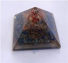 Lapis Lazuli Orgone Pyramid with Crystal Point Orgonite Lapis Luzuli Pyramid Copper Meditation