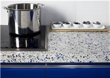 White Vetrazzo Kitchen Countertops