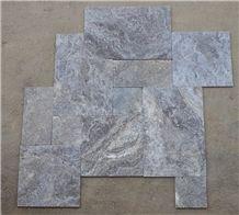 Silver Travertine Tumbled Pattern Set