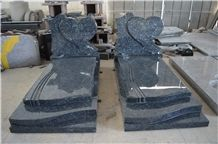 Blue Pearl Granite Monument,Heart Headstone,Western Tombstone,European Monument Style Design