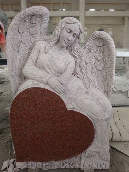 Indian Red Granite Monument With Angel Heart Roses Shape