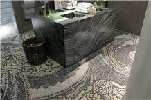 Black Wood Vein Marble, Marmara Equator Marble and Mosaic Commercial Bathroom Design