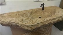 Sandalwood Stone Hand Crafted River Sink and Vanity