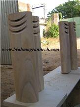 Sandstone Lamp Stands, Garden or Park Natural Stone Lamp Post, Beige Sandstone Letter Boxes