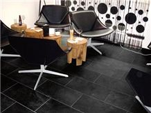 Montauk Black Slate Floor Tiles - Black, Graphite-Like - Honed, Black Slate Tiles & Slabs Brazil