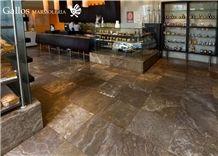 Crater Fantasy Travertine Peru Tiles & Slabs, Brown Travertine Flooring and Walling Tiles Polished