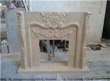 Beige Marble Fireplace,Hand Works Fireplace Mantel,Handicraft Carving