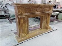 Hand Carved Marble Fireplace Surround Mantel, Brown Marble Fireplace Surround