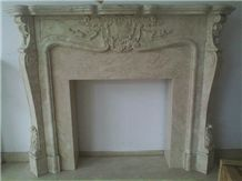 Western Style Fireplace,China Beige Marble Fireplace