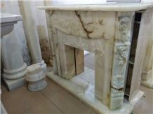 White Onyx Fireplace,European Style Fireplace,Decorative Carved Fireplace Mantel