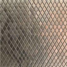 Brown Glass & Metal Brick Mosaic