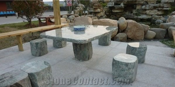 Natural Stone Green Marble Table Sets, Garden Bench ...