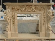 Beige Marble Fireplace Surround