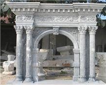 China Grey Marble Fireplace