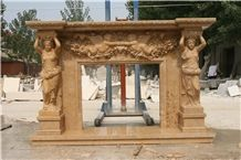 Fireplace/Statue, Beige Marble Fireplace