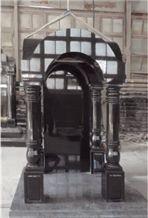 India Black Granite Tombstone,Engraved