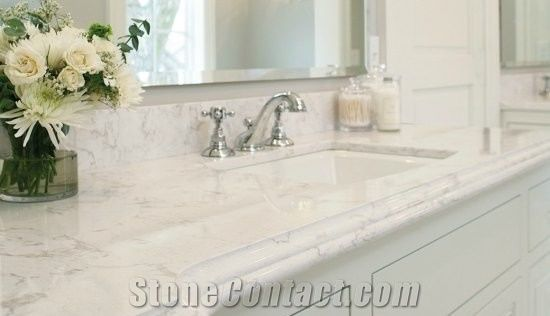 Beautiful Vanity Countertops Bath Surfaces With Marble Imitation Like Carrara Quartz Countertop At The Home Depot Minus Maintenance Standard