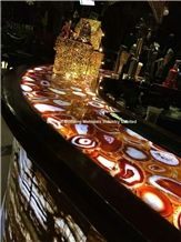 Backlit Red Agate Bar Tops