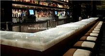 Backlit White Rock Crystal Bar Top