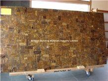 Brown Iron Tiger Eyes Semiprecious Stone Slab Panel