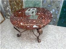 Red Agate Semiprecious Stone Round Table Top