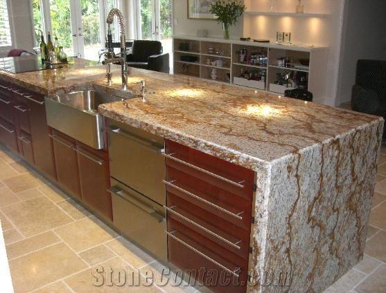 Juparana Golden Kam Granite Kitchen Countertop Yellow Brazil