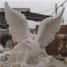 White Marble Carving Eagle Hawk Sculpture