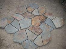 Fargo 1120 China Rust Slate Flagstone Mesh,Multi-Color Slate Random/Irregular Flagstone for Garden Road Paving,Walkway Pavers