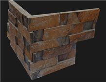Fargo 1120 Rusty Slate Stacked Corner Stone,Multi-Color Slate Ledge Stone, Slate Exposed Wall Cladding Stone