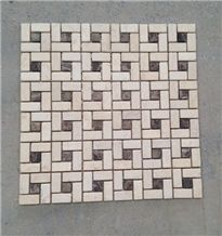 Fargo Marble Mosaic Pattern for Floor & Wall,Honed Marble Mosaic Egyptian Beige + Dark Emperador