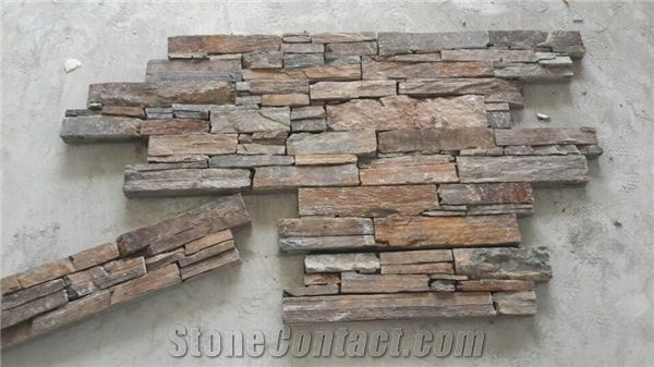 Fargo Slate Stacked Stone Veneer With Cement Base Exposed