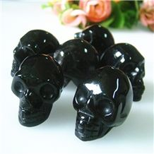 2015 Hot Sale Scno0151 Natural Obsidian Artifacts Skull Carving for Gift