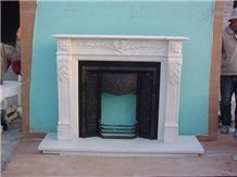 China White Marble Fireplace Mantel, European Style Fireplace