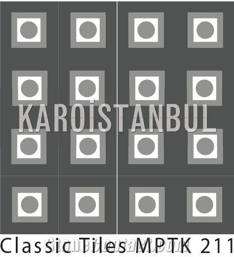Encaustic Cement Terrazzo Tile, Multicolor Terrazzo and Quartz Stone
