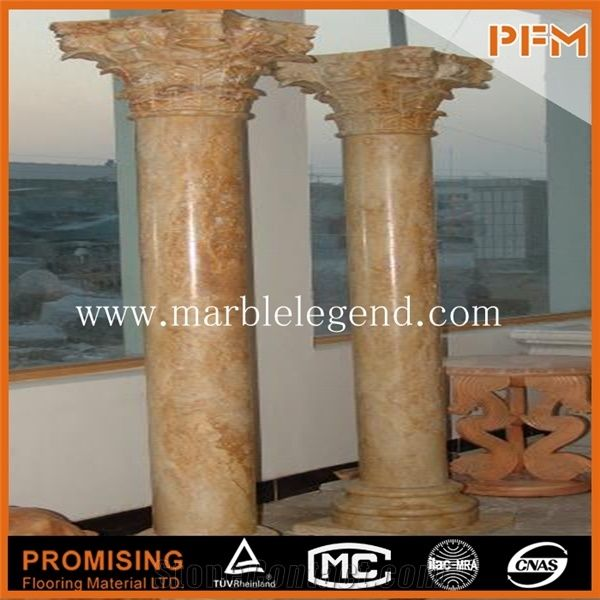 Beige Marble Stone Pillars for Porches,Roman Pillar Cap Rounded ...