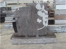 Paradiso Granite Monument with Flower Design, Sunflower Sculpture Tombstone, Heronsbill Carved Headstone & Memorial