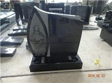 Shanxi Black Granite Monument with White & Black Dot Painting, Indian Black Lawn Memorial, Australian Style Tombstone