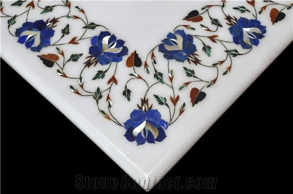 White Marble Stone And Mother Of Pearl Inlays Table Top Design