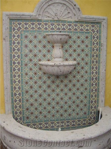 Pinion Mancha Cafe Cantera Wall Fountain With Hand Painted