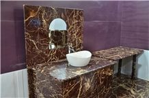 India Red Cherry Gold Marble Bath Countertops