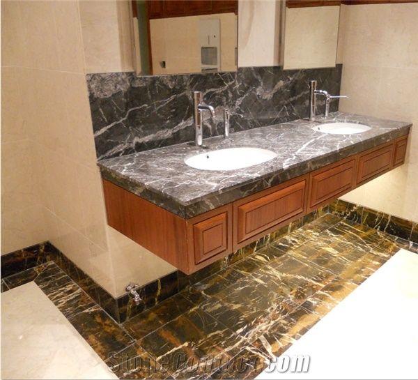 Black Gold Marble Bathroom Vanity Top